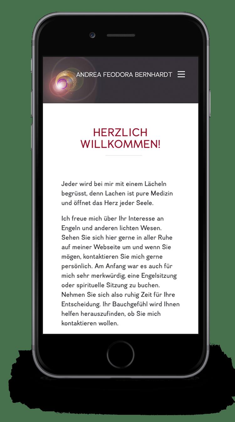 Kuki Design Web Gestaltung Umsetzung Andrea Feodora Bernhardt Responsive WordPress Startseite Ansicht Smartphone