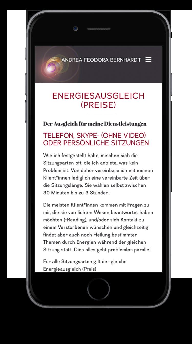 Kuki Design Web Gestaltung Umsetzung Andrea Feodora Bernhardt Responsive WordPress Unterseite Ansicht Smartphone