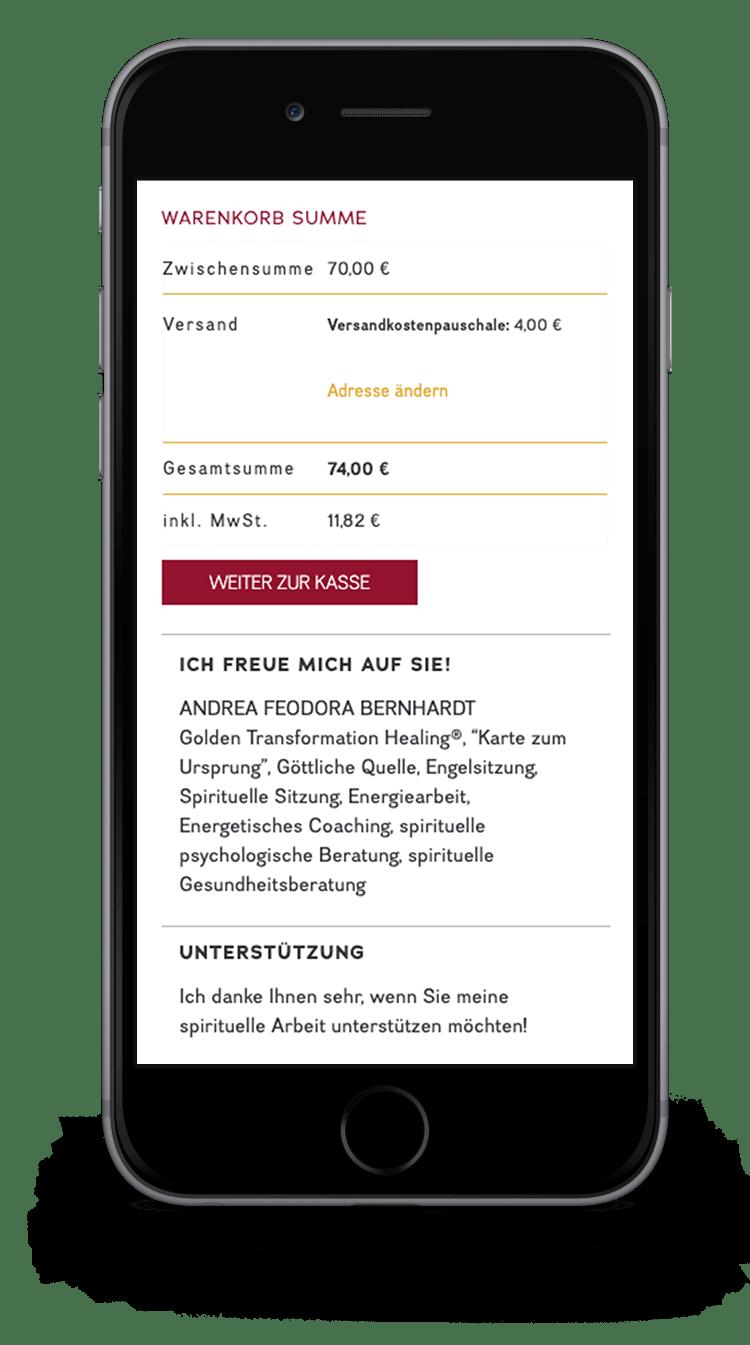 Kuki Design Web Gestaltung Umsetzung Andrea Feodora Bernhardt Responsive WordPress Shop Ansicht Smartphone
