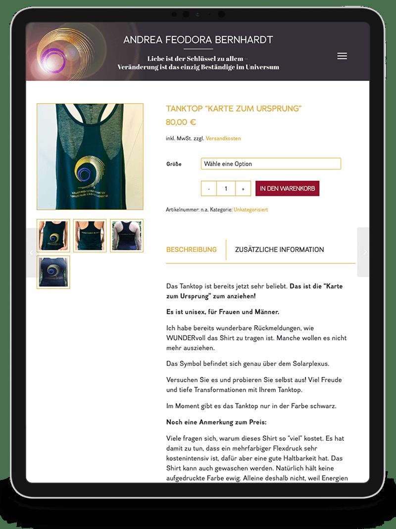Kuki Design Web Gestaltung Umsetzung Andrea Feodora Bernhardt Responsive WordPress Shop Ansicht Tablet