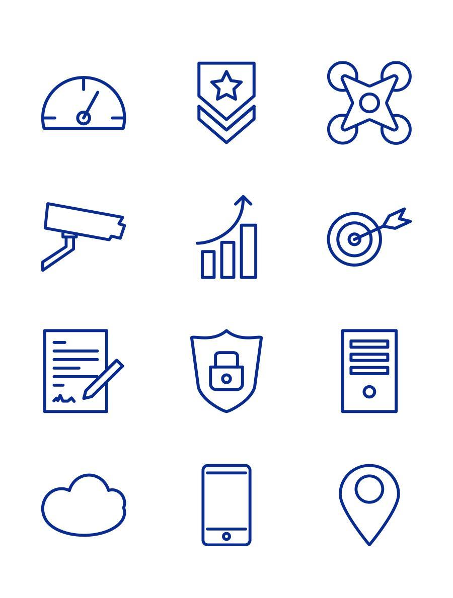 Kuki Design Illustration Icon Bundle blau weiß, lineart reduziert