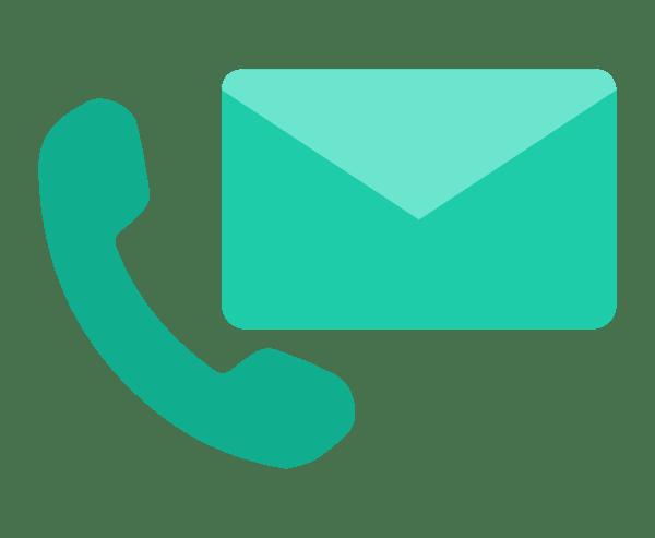 Illustration Arbeitsablauf Kontaktaufnahme Telefon Mail
