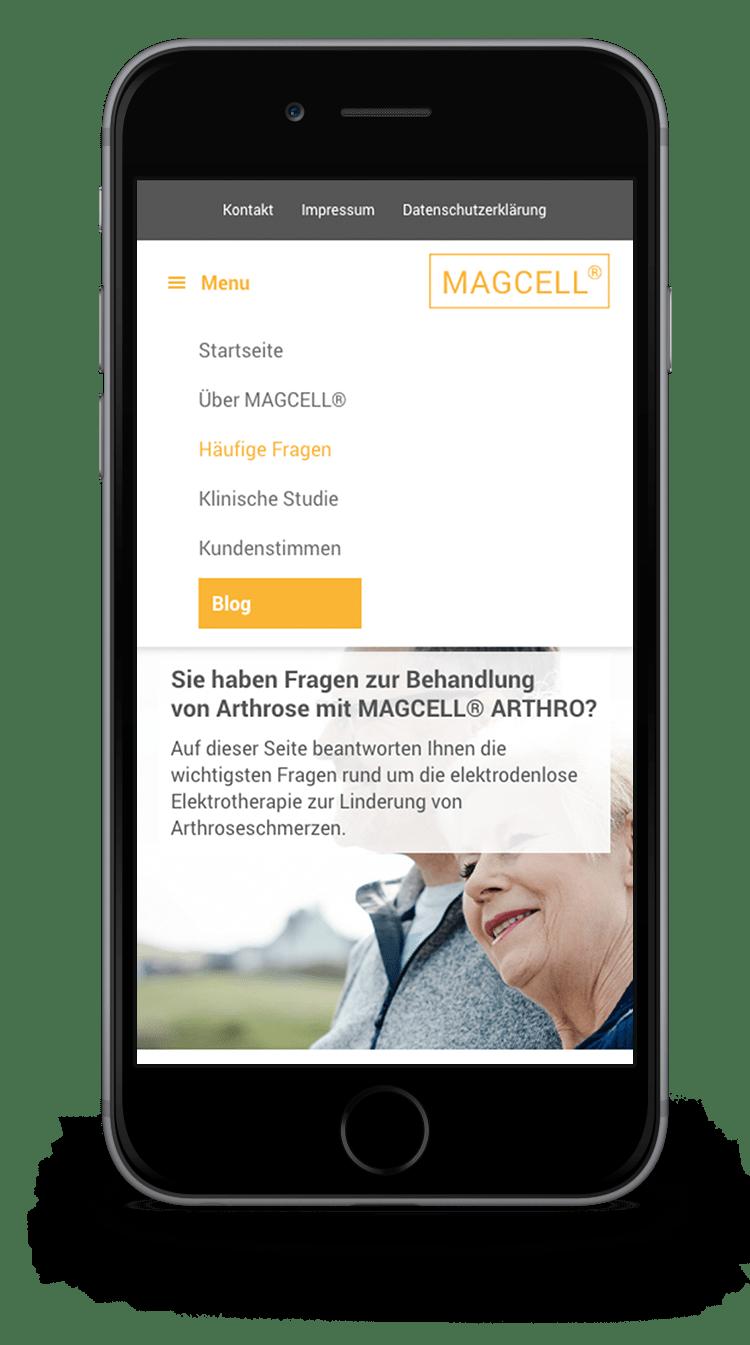 Kuki Design Web Gestaltung Umsetzung MAGCELL Responsive WordPress Menü Ansicht Smartphone