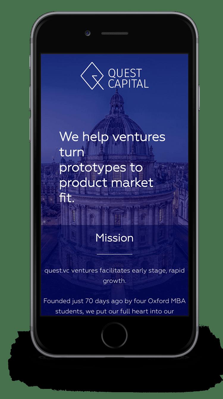 Kuki Design Web Gestaltung Umsetzung Logogestaltung Quest Capital Responsive WordPress Startseite Ansicht Smartphone
