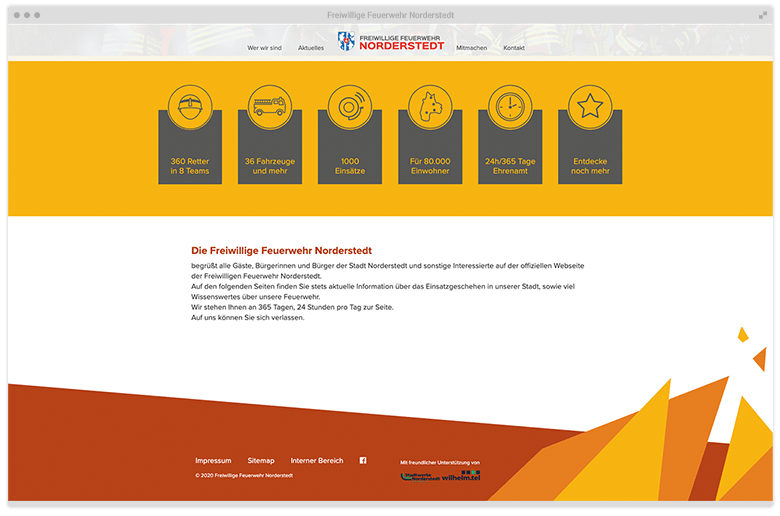 Kuki Design Web Gestaltung Umsetzung Corporate Design Feuerwehr Norderstedt Responsive WordPress Startseite Desktop