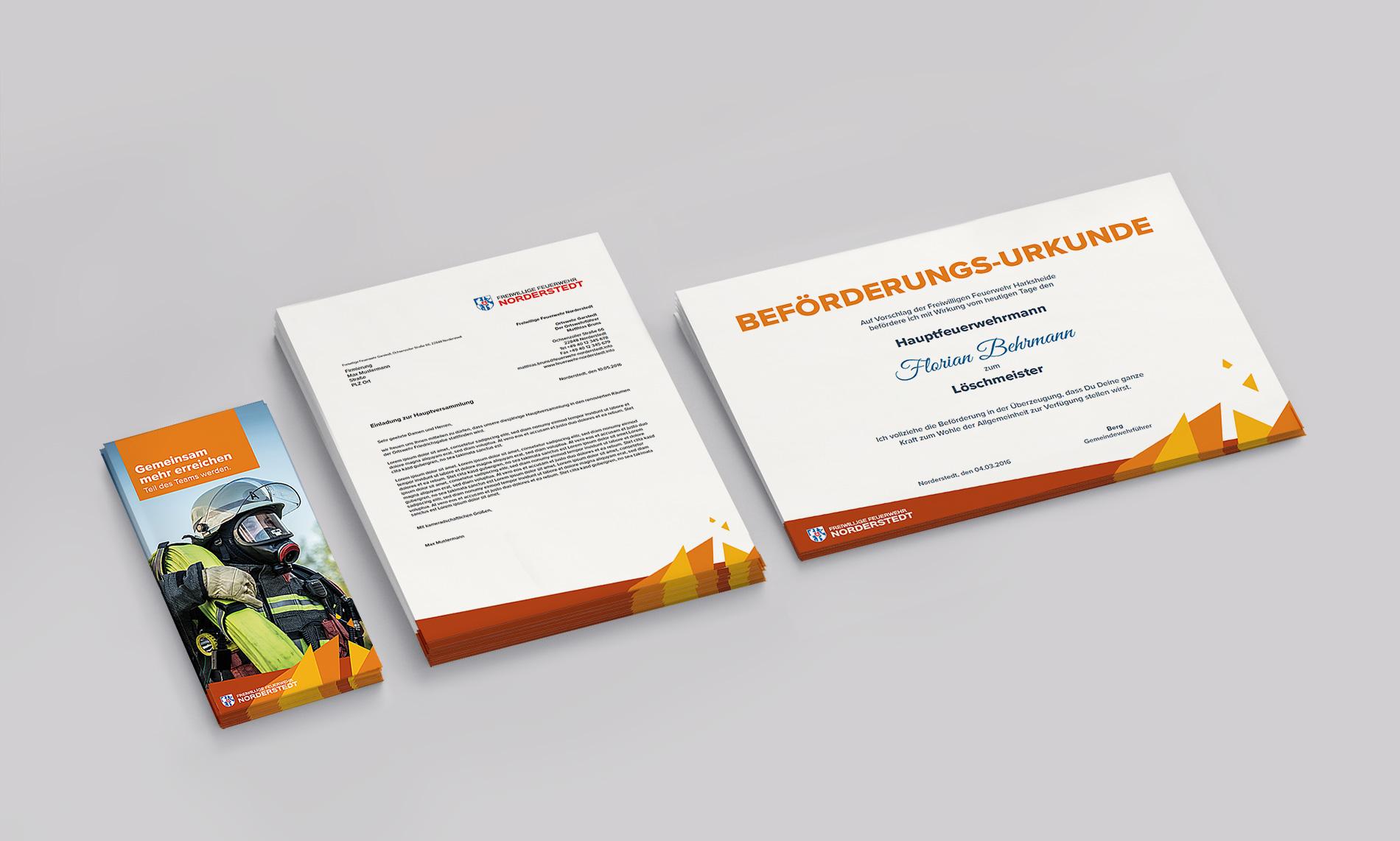 Kuki Design Corporate Design Feuerwehr Norderstedt Gestaltung Geschäftspapier, Flyer, Logogestaltung, Farbgebung, Mockup