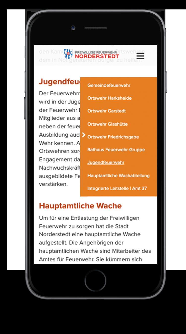 Kuki Design Web Gestaltung Umsetzung Corporate Design Feuerwehr Norderstedt Responsive WordPress Unterseite Detail Ansicht Smartphone
