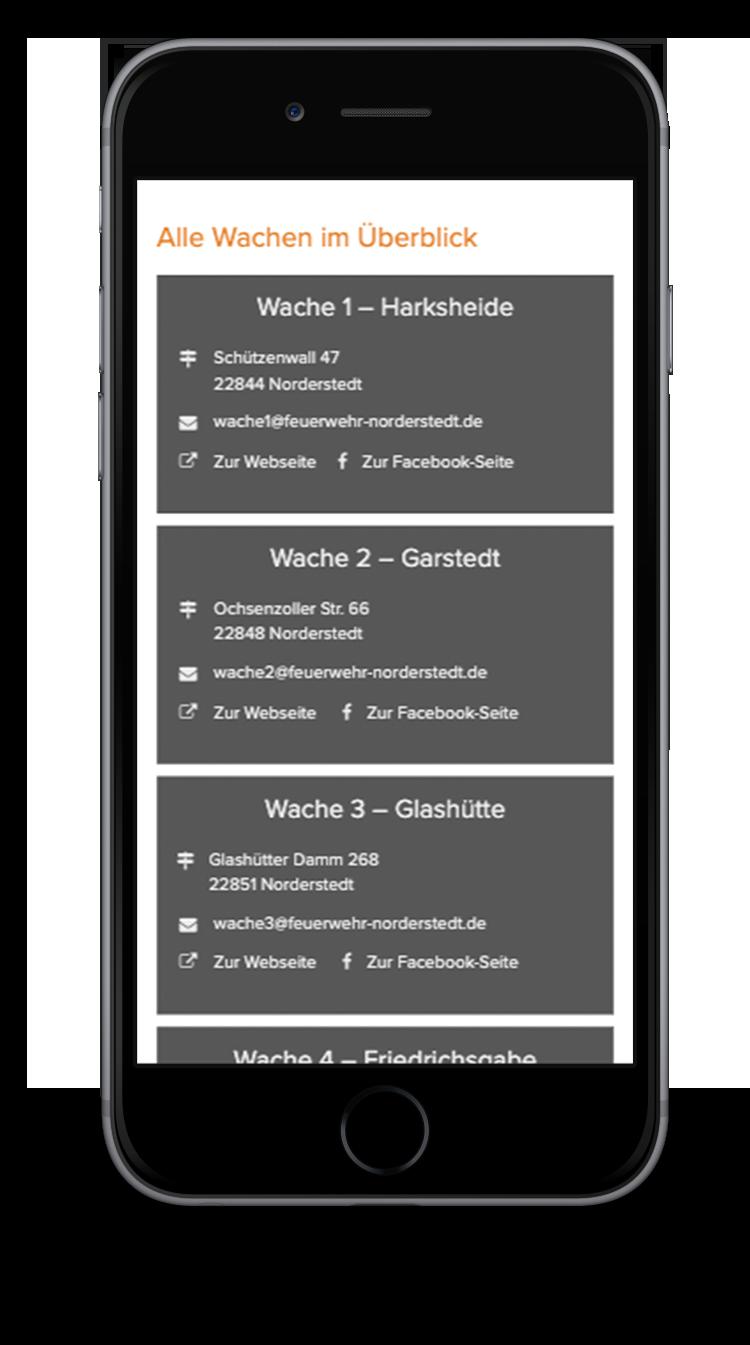 Kuki Design Web Gestaltung Umsetzung Corporate Design Feuerwehr Norderstedt Responsive WordPress Unterseite Wachen Adressen Ansicht Smartphone
