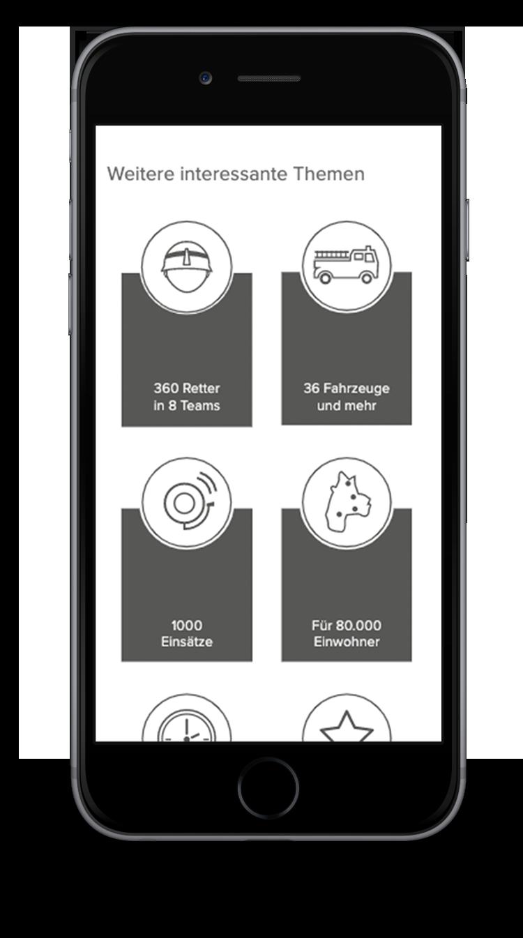 Kuki Design Web Gestaltung Umsetzung Corporate Design Feuerwehr Norderstedt Responsive WordPress Detail Icons Ansicht Smartphone