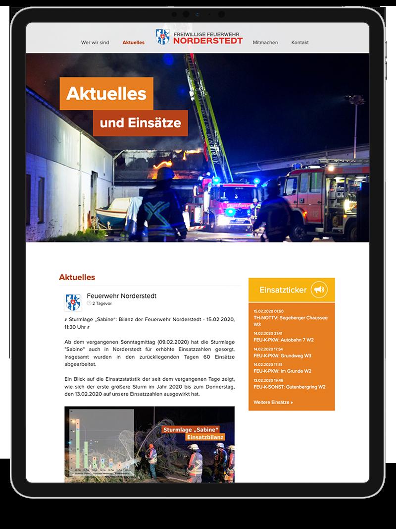 Kuki Design Web Gestaltung Umsetzung Corporate Design Feuerwehr Norderstedt Responsive WordPress Unterseite Detail Ansicht Tablet