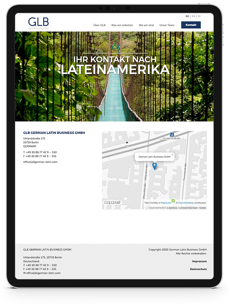 Kuki Design Web Gestaltung Umsetzung Corporate Design German Latin Business Responsive WordPress Kontakt Ansicht Tablet