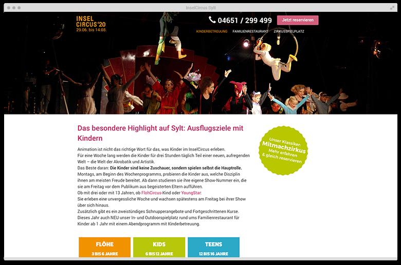 Kuki Design Web Gestaltung Umsetzung InselCircus Unterseite Ansicht Desktop