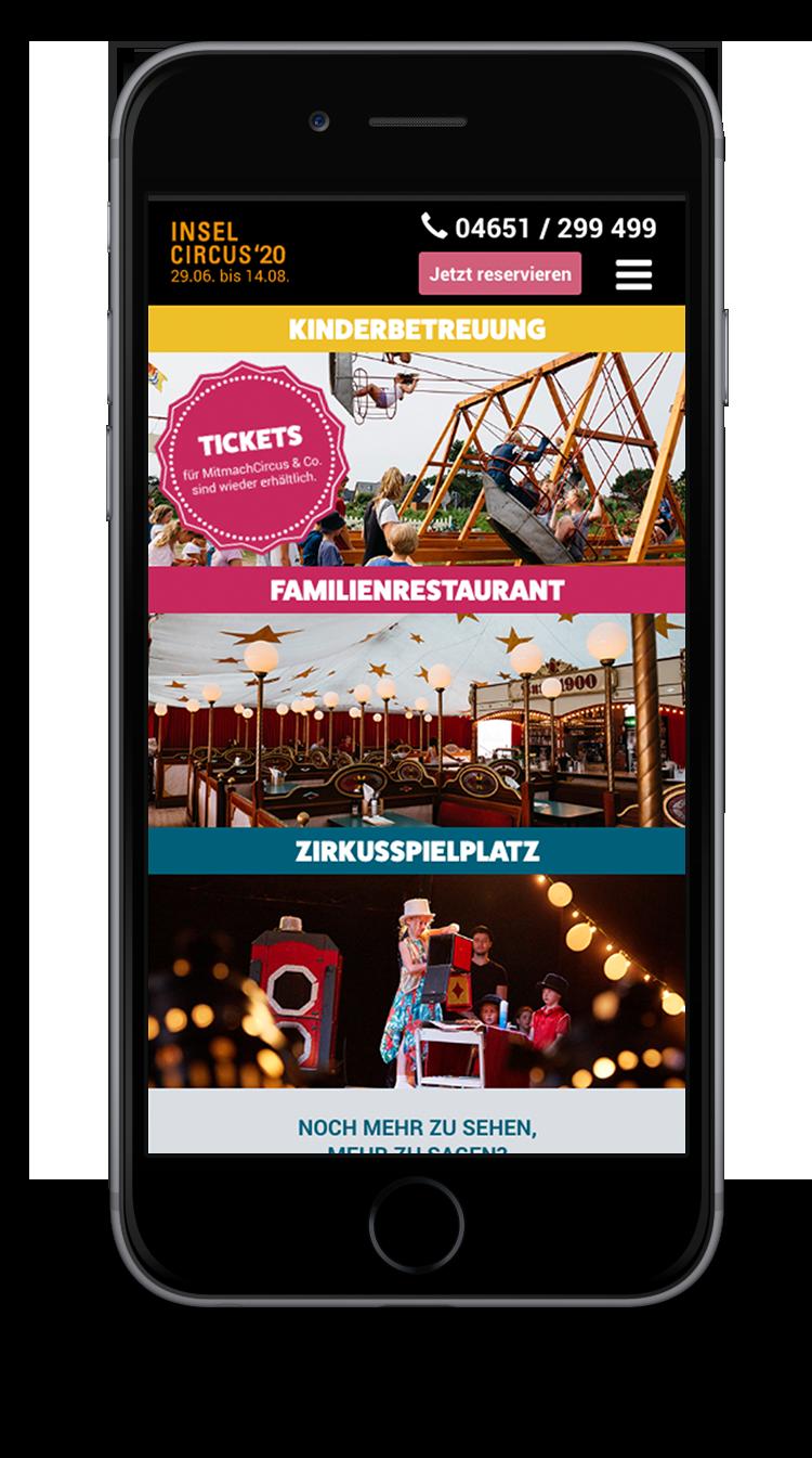 Kuki Design Web Gestaltung Umsetzung InselCircus Starseite Ansicht Smartphone