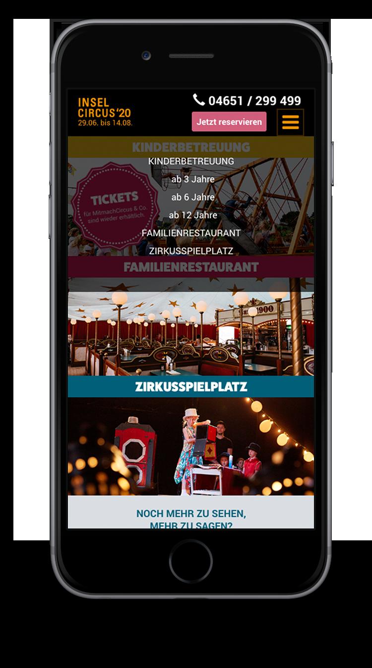 Kuki Design Web Gestaltung Umsetzung InselCircus Menü Ansicht Smartphone