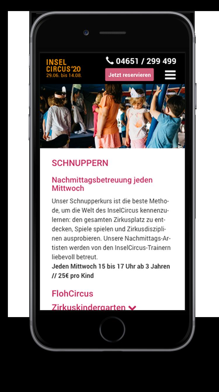 Kuki Design Web Gestaltung Umsetzung InselCircus Unterseite Ansicht Smartphone