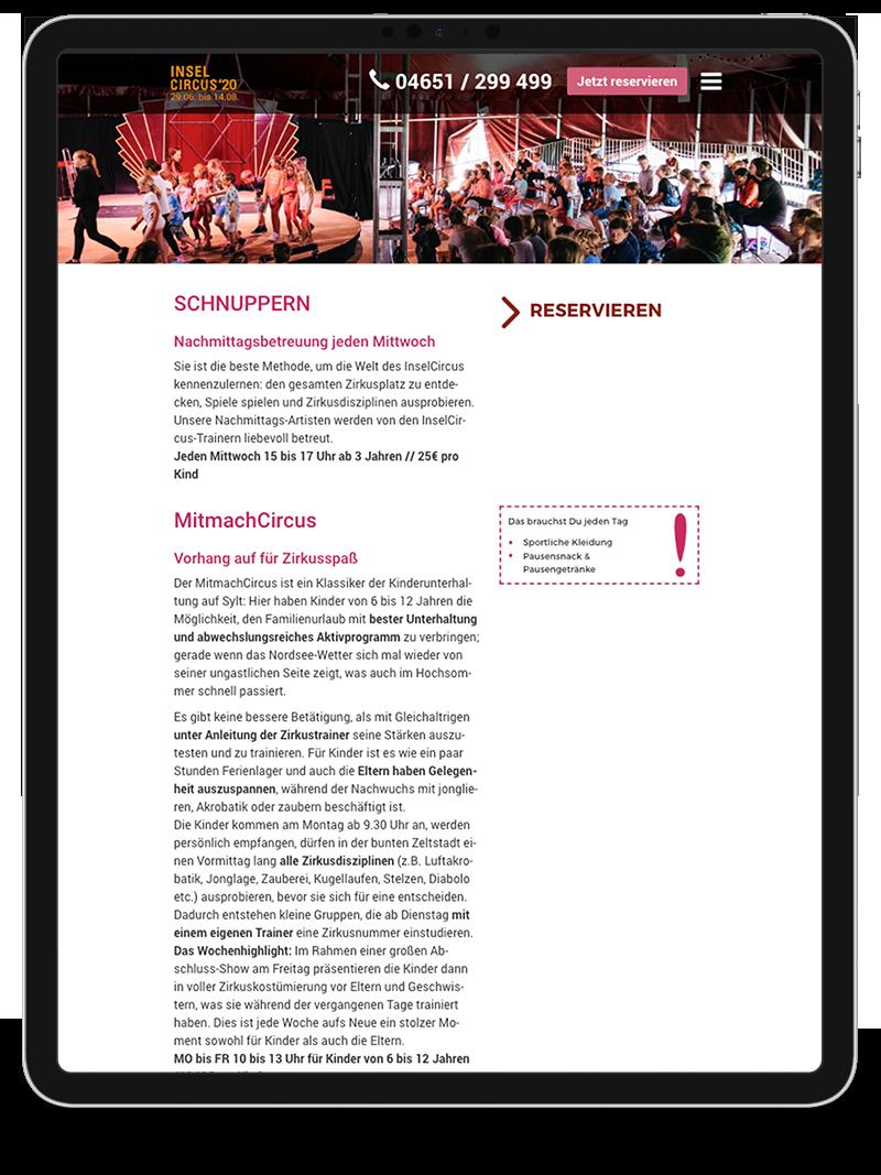 Kuki Design Web Gestaltung Umsetzung InselCircus Starseite Ansicht Tablet