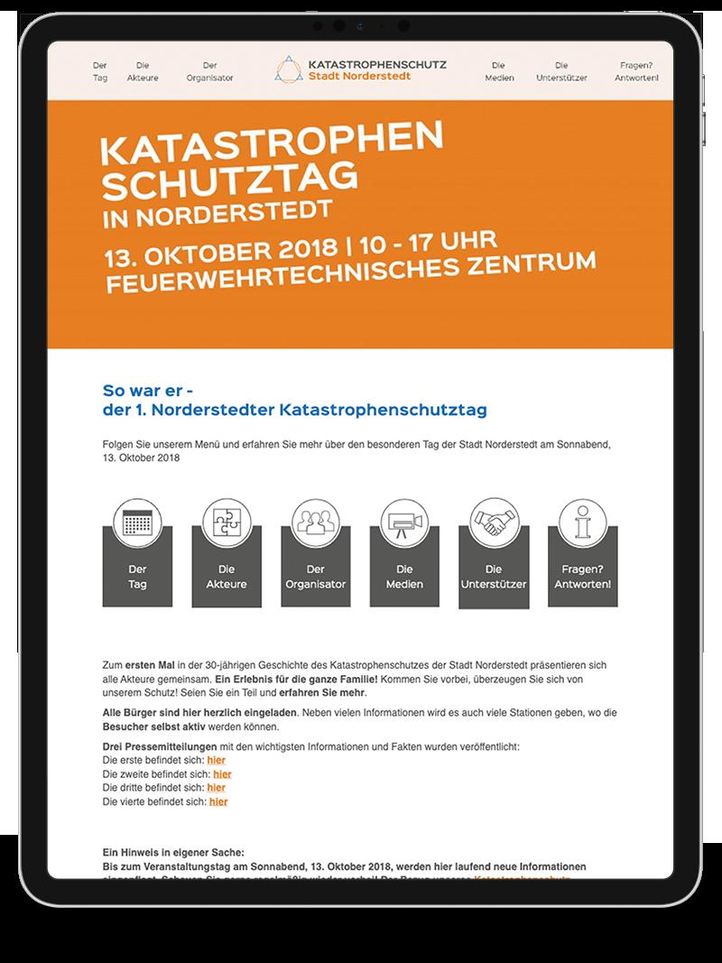 Kuki Design Web Gestaltung Umsetzung Corporate Design Katastrophenschutz Norderstedt Responsive WordPress Startseite Ansicht Tablet