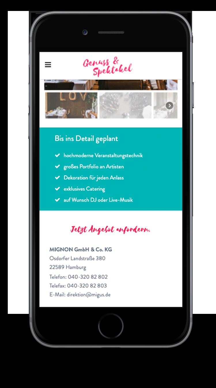 Kuki Design Web Gestaltung Umsetzung Team Mignon Responsive WordPress Detail Ansicht Smartphone