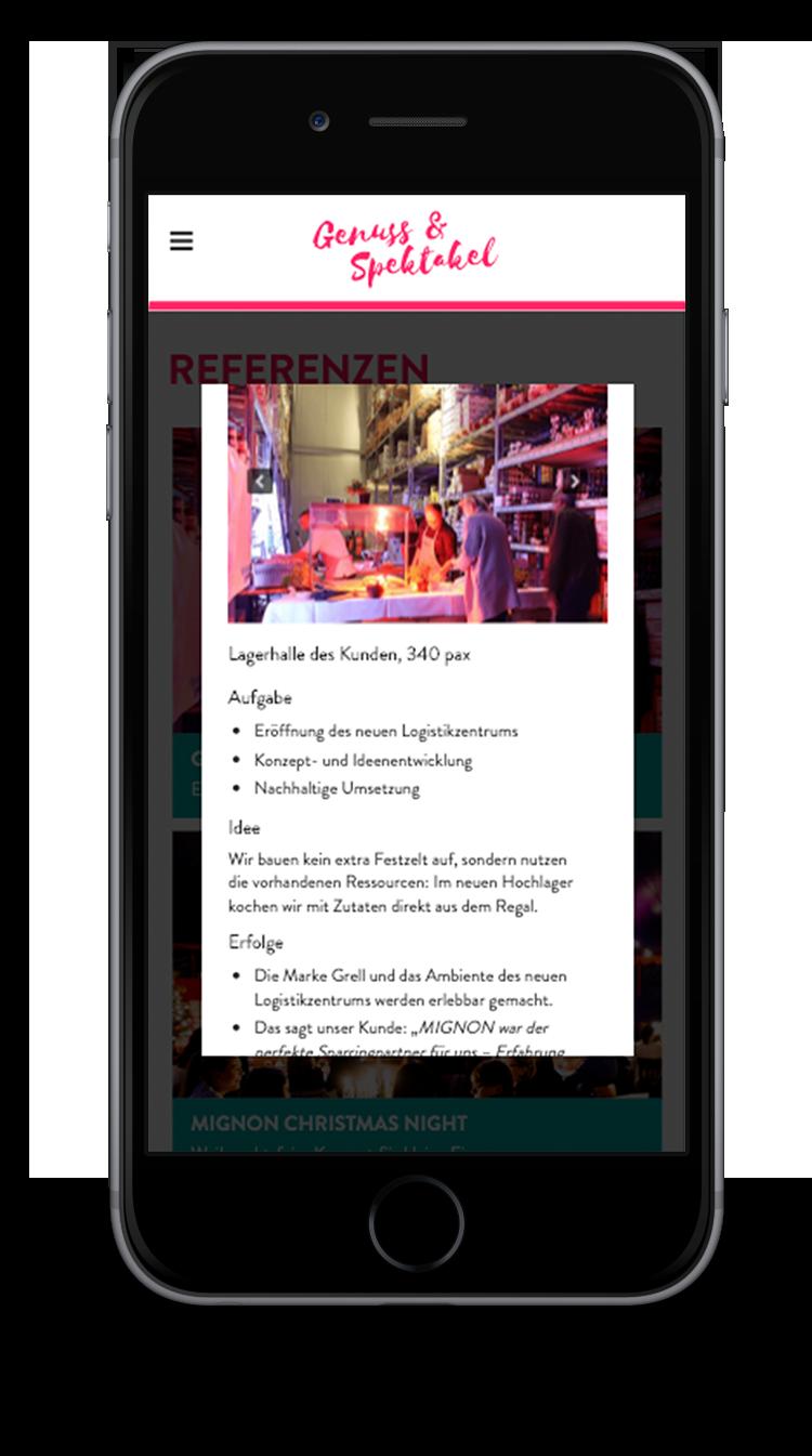 Kuki Design Web Gestaltung Umsetzung Team Mignon Responsive WordPress Popup Case Ansicht Smartphone