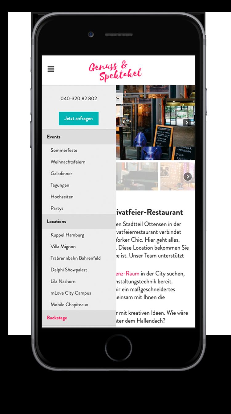 Kuki Design Web Gestaltung Umsetzung Team Mignon Responsive WordPress Menü Ansicht Smartphone