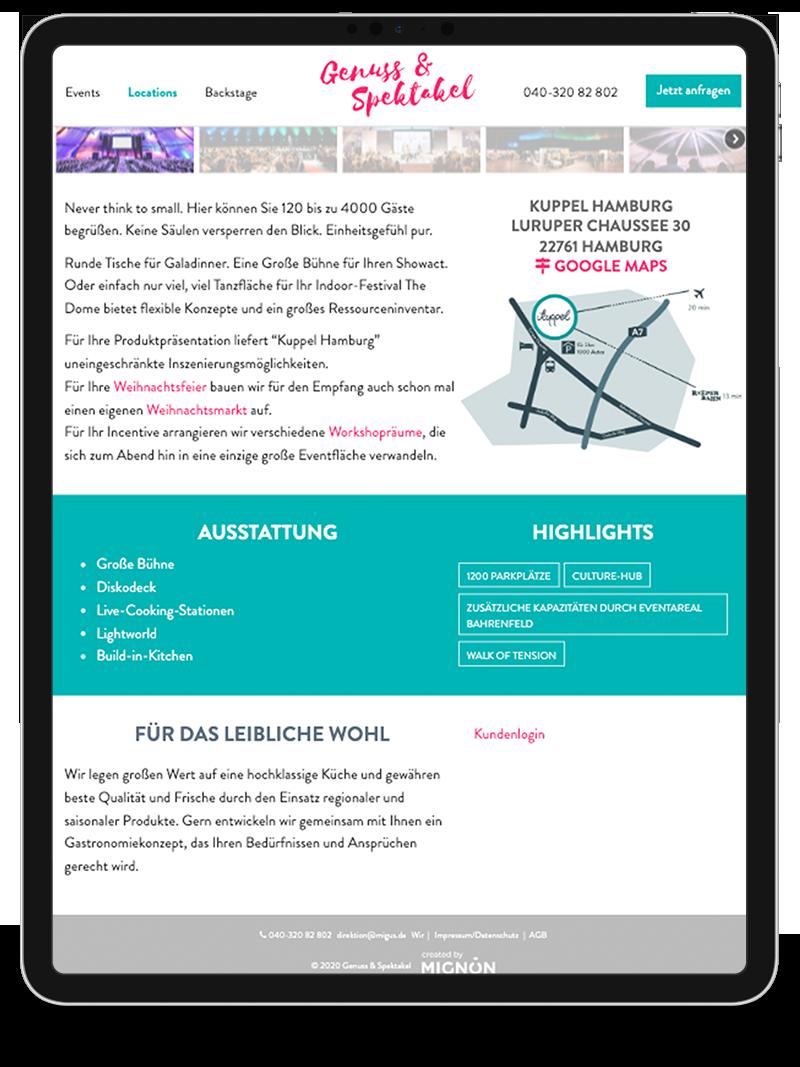Kuki Design Web Gestaltung Umsetzung Team Mignon Responsive WordPress Detail Ansicht Tablet